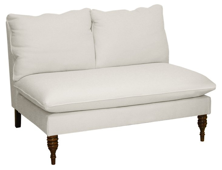 "Bacall 49"" Armless Settee, White Twill"