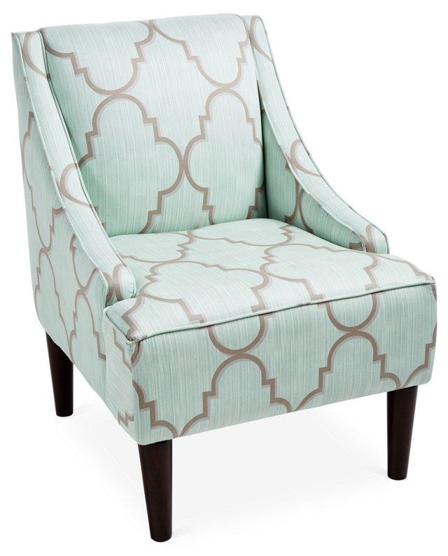 Quinn Swoop-Arm Chair, Sky/Gray