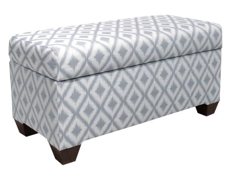 "Hayworth 38"" Ikat Storage Bench, Pewter"