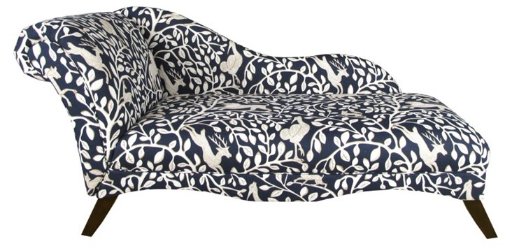 Ariel Chaise Longue, Navy/Ivory