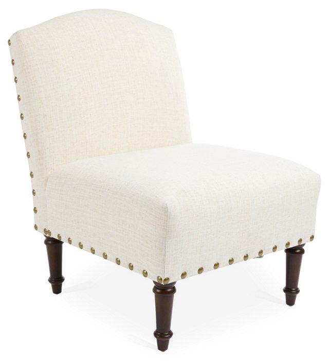 Clark Slipper Chair, Talc Linen