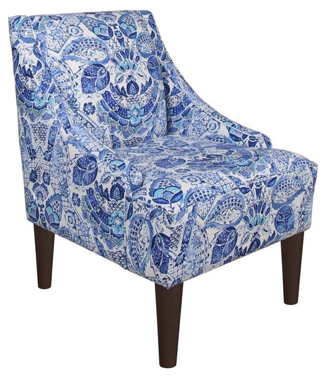 Quinn Swoop-Arm Chair, Blue Paisley