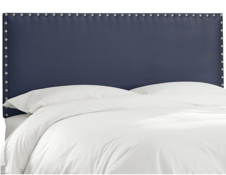 Loren Nail-Button Headboard, Midnight