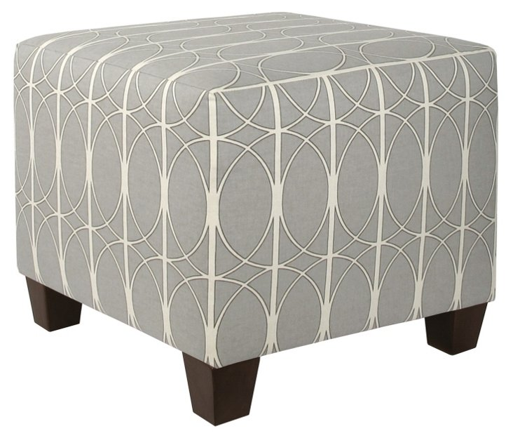 Berit Square Ottoman, Gray/White