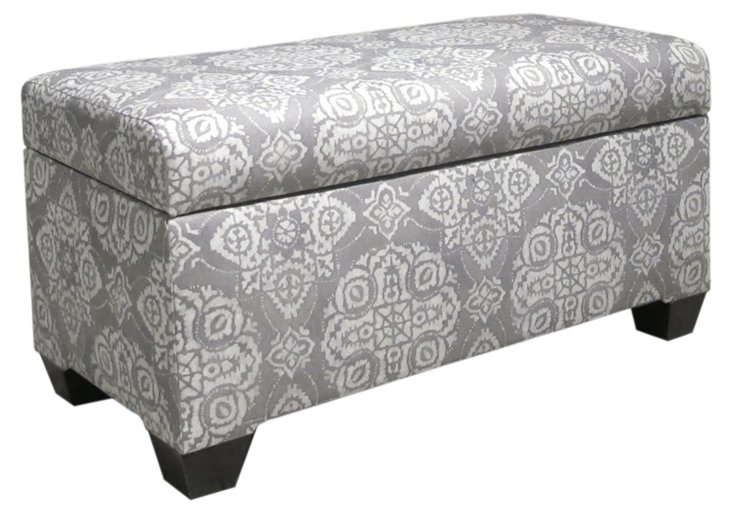 "Hayworth 38"" Storage Bench, Gray/White"