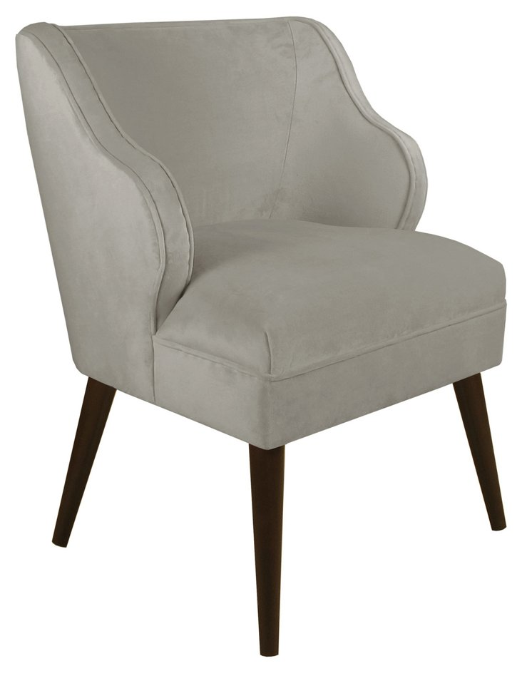Kira Accent Chair, Gray Velvet