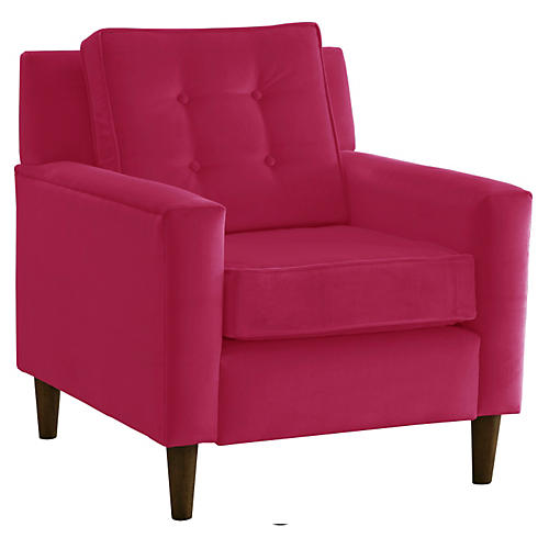 Winston Club Chair, Berry Velvet