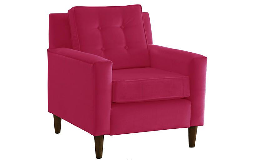 Winston Club Chair, Berry Velvet