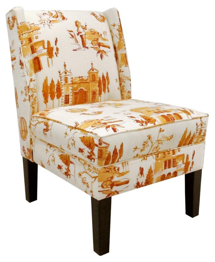 Porter Cotton Wingback Chair, Tangerine