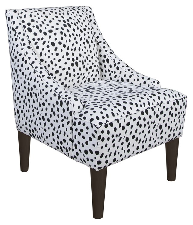 Quinn Swoop-Arm Chair, Black Dot