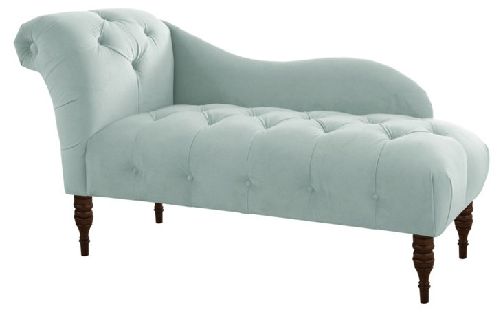 Francis Tufted Chaise, Pool Velvet