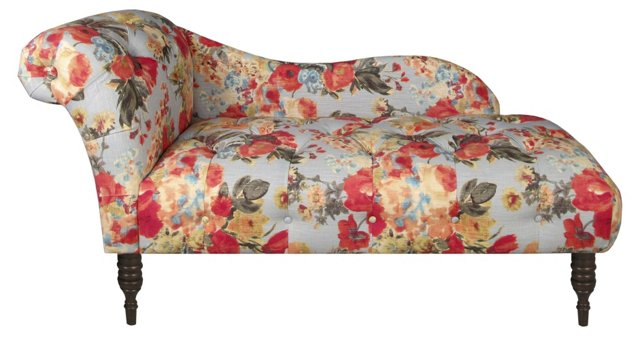 Francis Tufted Chaise, Garden Floral