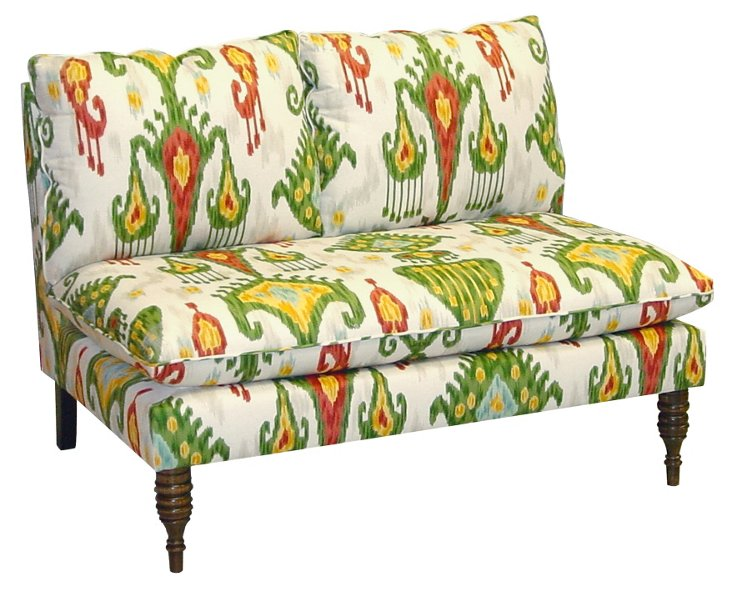 "Bacall 49"" Cotton Settee, Green/Red"