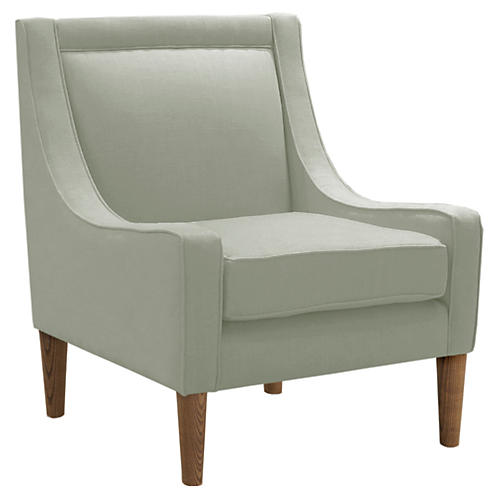 Scarlett Accent Chair, Mint Linen