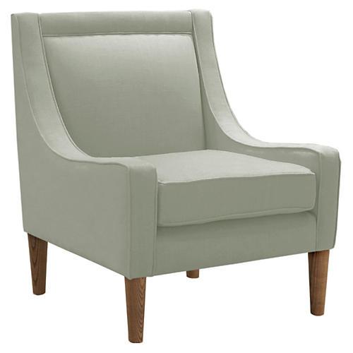 Scarlett Accent Chair, Mint Linen