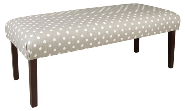 "Aria 50"" Dotted Cotton Bench, Gray/White"