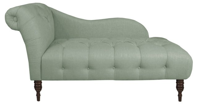 Francis Tufted Chaise, Moss Linen