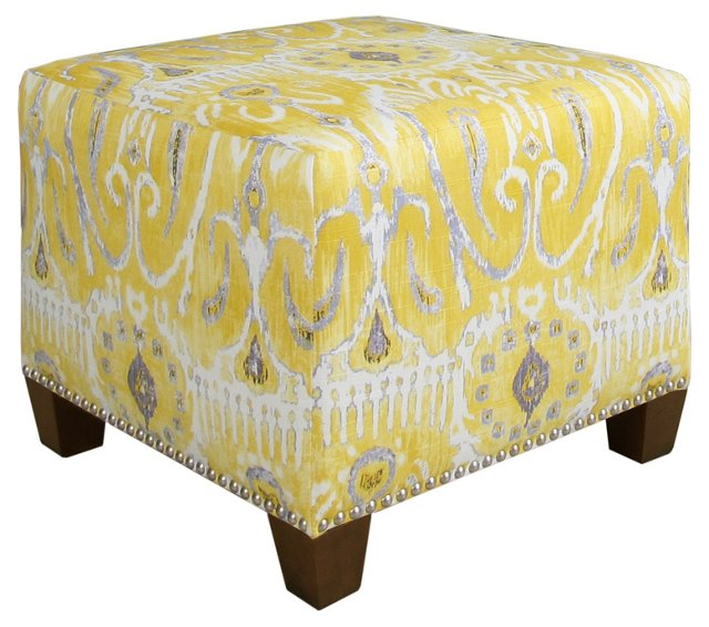 Berit Square Ottoman, Lemon/Gray