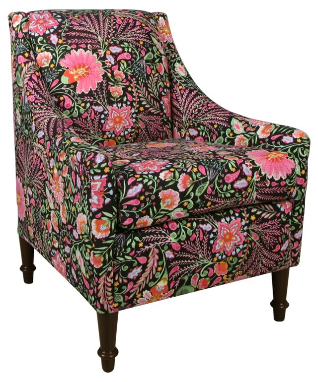 Holmes Accent Chair, Black/Pink Floral
