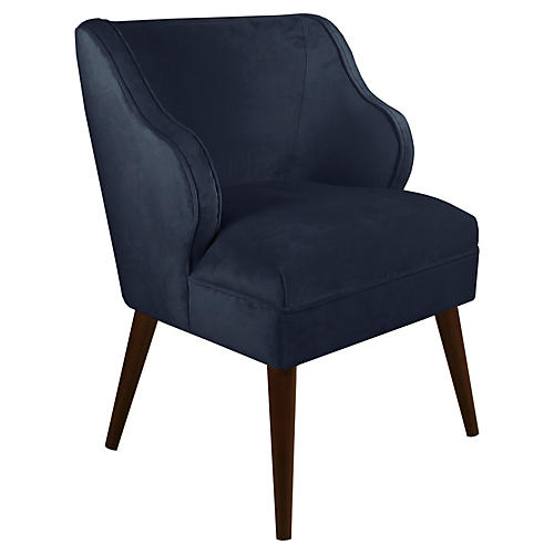 Kira Accent Chair, Navy Velvet