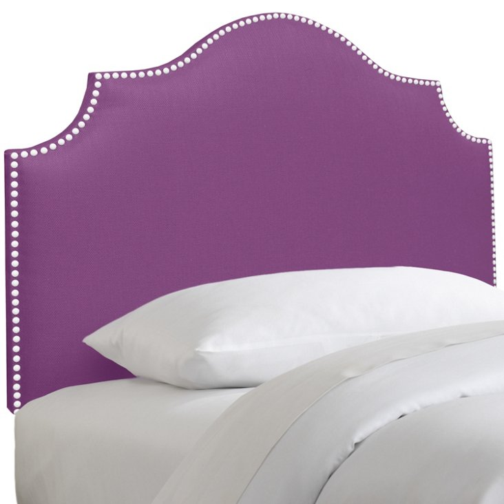 Emerson Nail-Trim Headboard, Purple