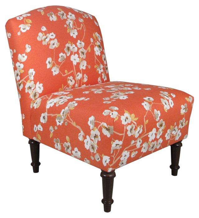Clark Armless Linen Chair, Orange