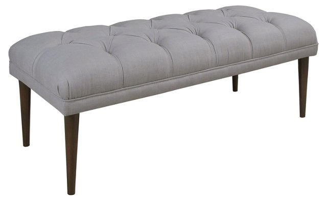 "Colette 49"" Tufted Bench, Gray"