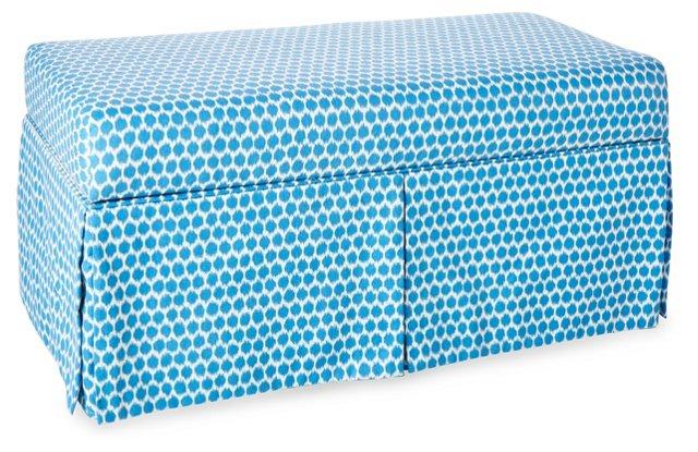 "Hayworth 38"" Skirted Storage Bench, Blue"