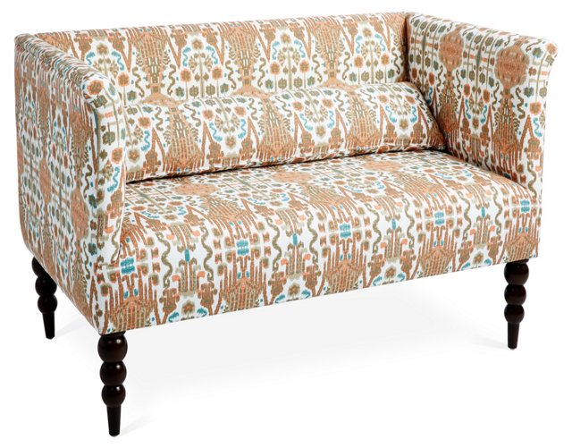 "Whitney 52"" Cotton Settee, Mango/Multi"