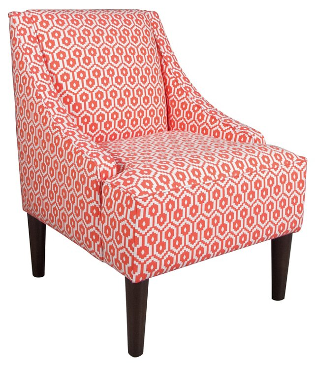 Quinn Swoop-Arm Chair, Red Swirl