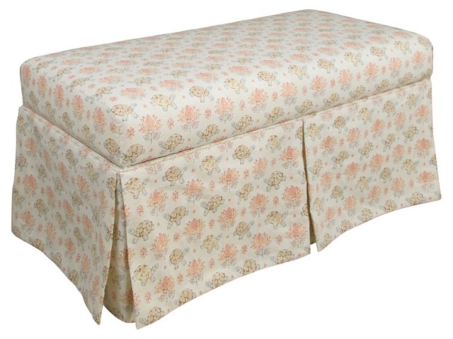 "Paige 38"" Skirted Storage Bench, Turtle"