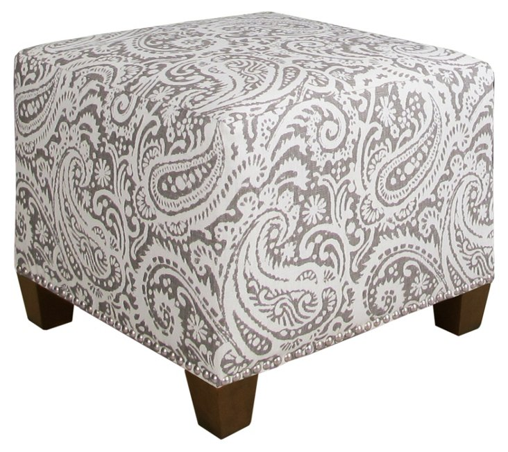Berit Square Linen Ottoman, Ash/White