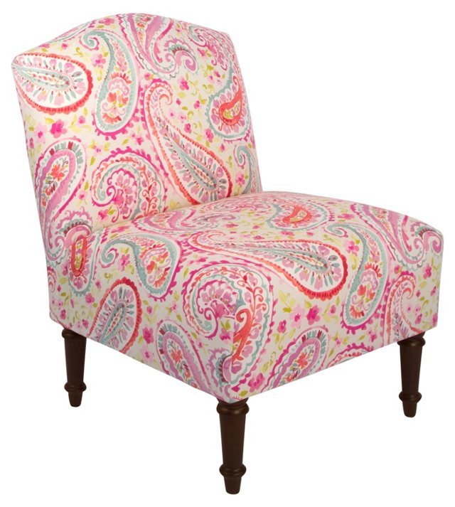 Clark Slipper Chair, Pink/Multi