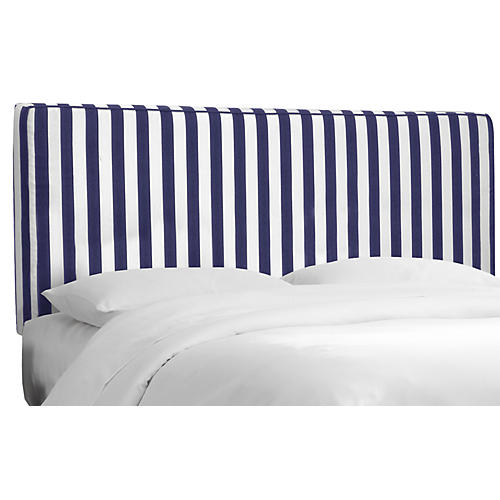 Macy Headboard, Navy/White Striped