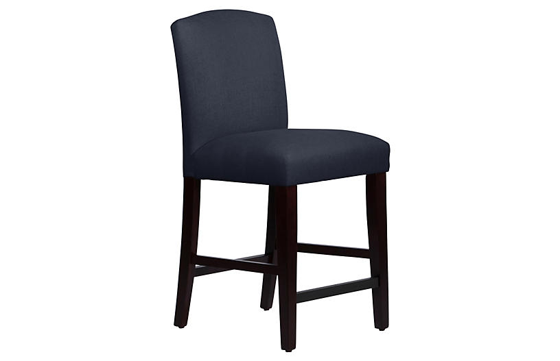 Marie Arched Counter Stool, Espresso/Navy Linen