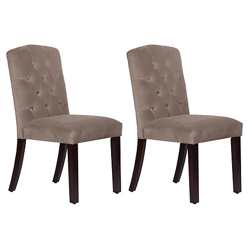 S/2 Lea Tufted Side Chairs, Smoke Velvet