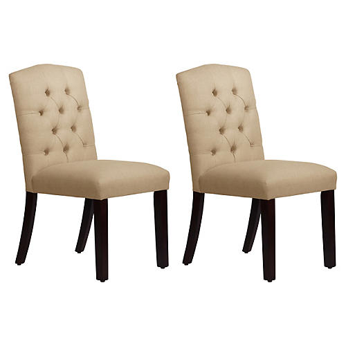 S/2 Lea Tufted Side Chairs, Sand Linen