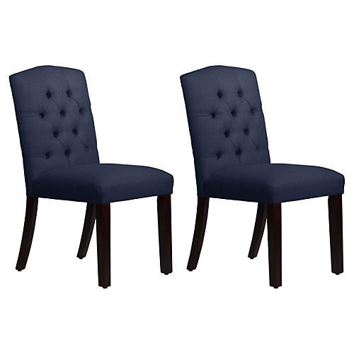 S/2 Lea Tufted Side Chairs, Navy