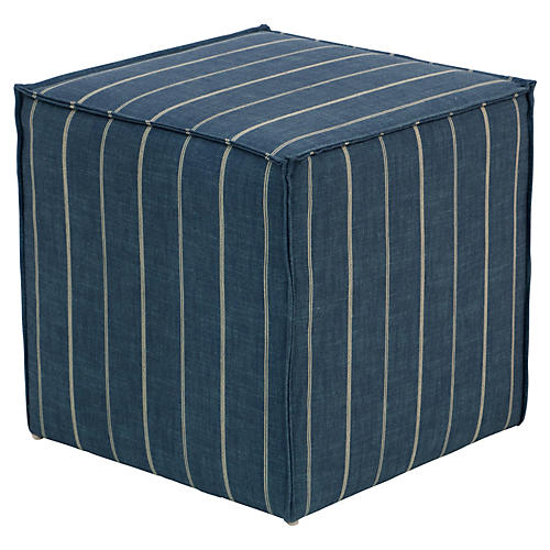 Astair French Seam Cube Ottoman, Fritz Indigo