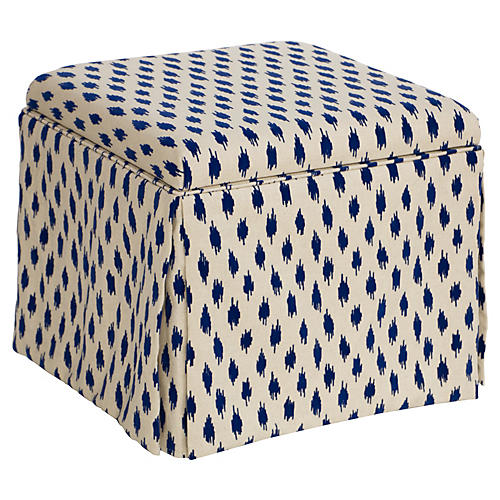 Anne Skirted Storage Ottoman, Navy Velvet Spot