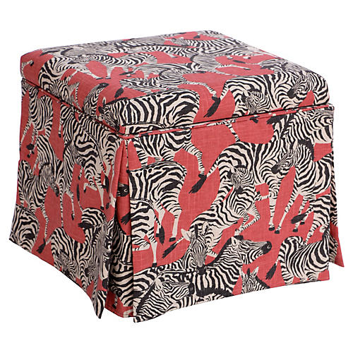 Anne Skirted Storage Ottoman, Zebra