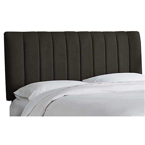 Delmar Channel Headboard, Charcoal Linen