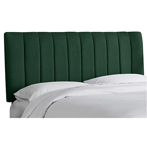 Delmar Channel Headboard, Green Linen