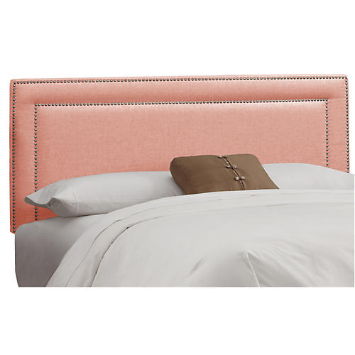 Bardot Headboard, Pink Linen