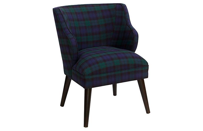 Kira Accent Chair, Navy Plaid