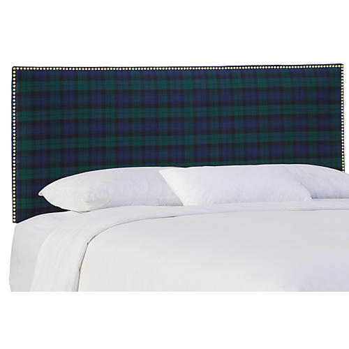 Loren Headboard, Navy Plaid