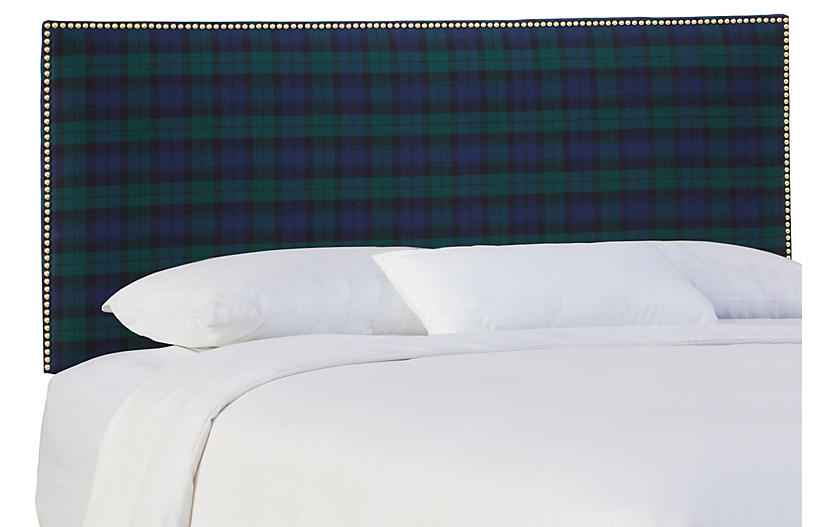 Loren Headboard - Navy Plaid