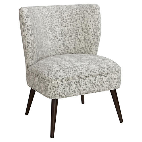 Bailey Accent Chair, Pewter Dots
