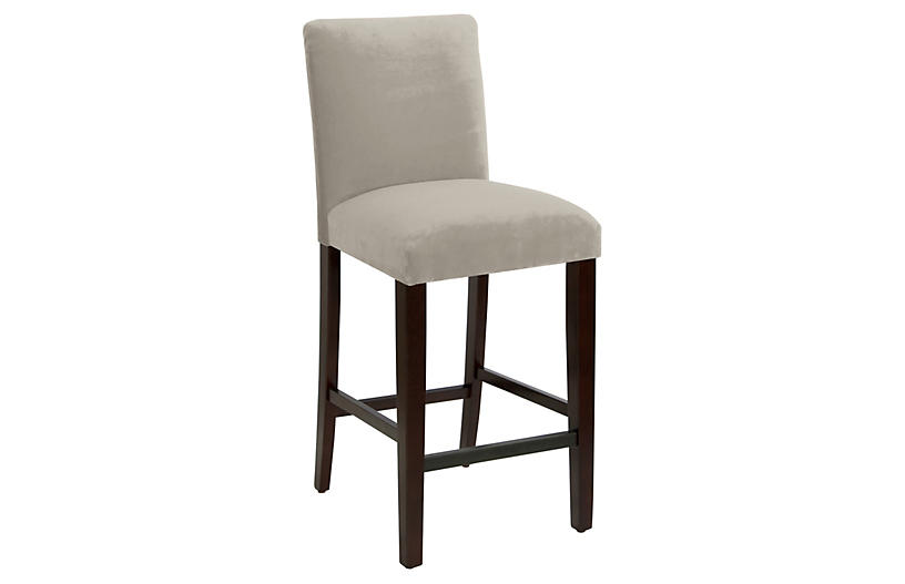 Erin Pleated Barstool, Light Gray Velvet