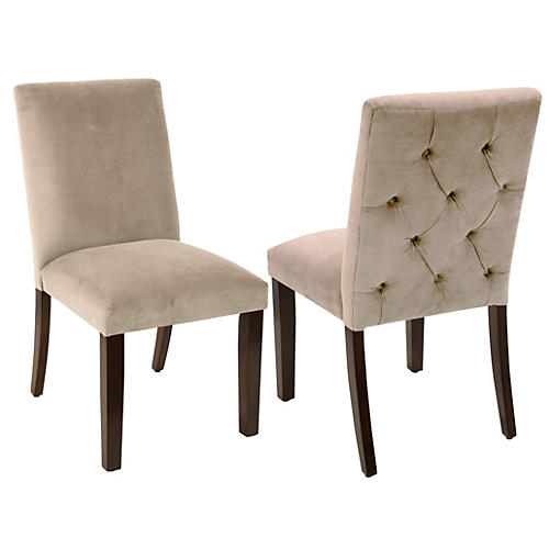 S/2 Lisa Side Chairs, Light Gray Velvet